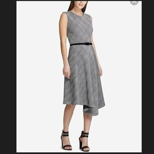 DKNY Asymmetrical-Hem Dress Black Cloud